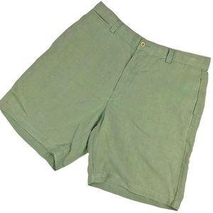 Tommy Bahama Silk Linen Green Pleated Shorts Sz 33